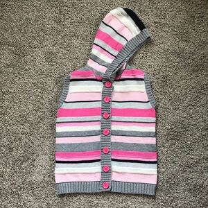 🌹Gymboree Striped Hooded Vest Girls Size M 7/8🌹